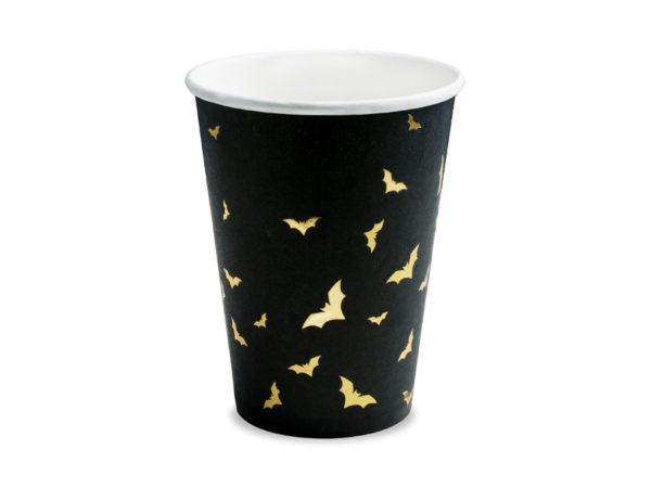 kubeczki papierowe w nietoperze na halloween, czarne kubeczki do napojów w złote nietoperze, kubeczki do napojów na halloween