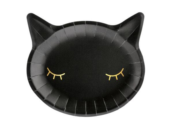 talerzyki koty, czarne talerzyki koty na halloween, talerzyki papierowe na halloween