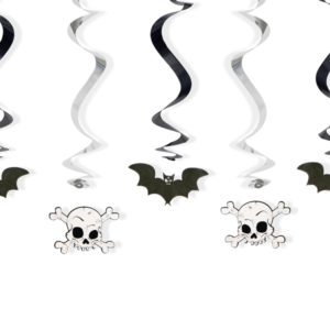wiszące świderki nietoperze i czaszki, wiszące dekoracje na Halloween, świderki na Halloween, czaszki i nietoperze zawieszki na halloween