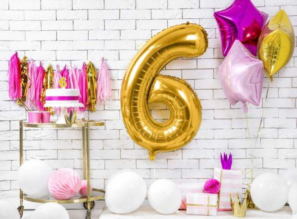 dekoracje złote na imprezę, złoty balon cyfra 6, balon cyfra foliowa 6, złote balony urodzinowe cyfry, balony na imprezy, 86 cm,