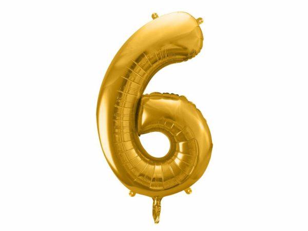 złoty balon cyfra 6, balon cyfra foliowa 6, dekoracje złote na imprezę, złote balony urodzinowe cyfry, balony na imprezy, 86 cm,