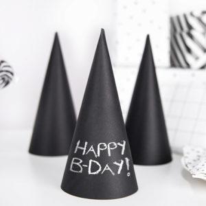 czarne czapeczki urodzinowe, czarne czapeczki na sylwestra, czarne czapeczki noworoczne, czarne czapeczki na imprezę, czapeczki imprezowe czarne