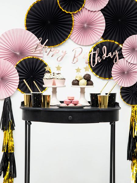 czarno złote papierowe kubeczki na imprezę, dekoracje czarno złote na imprezę, dekoracje na 18