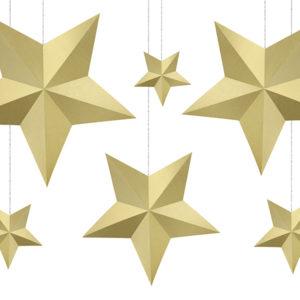 dekoracje noworoczne , dekoracje wiszące gwiazdy złote, dekoracje na imprezę, dekoracje urodzinowe wiszące złote, dekoracje candy bar wizące złote, dekoracje sylwestrowe wiszące złote,