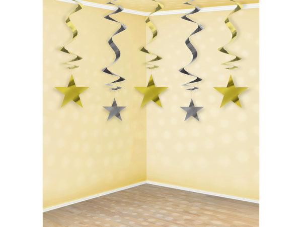 dekoracje noworoczne złote i srebrne gwiazdki świderki , dekoracje wiszące świderki złote i srebrne gwiazdki, dekoracje urodzinowe wiszące złote i srebrne gwiazdki,