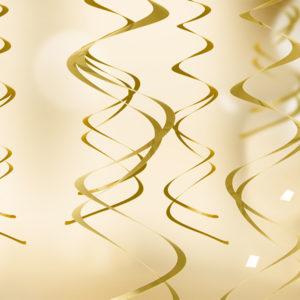 dekoracje sylwestrowe wiszące złote świderki,dekoracje noworoczne złote świderki , dekoracje wiszące świderki złote, dekoracje na imprezę, dekoracje urodzinowe wiszące złote