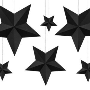 dekoracje wiszące gwiazdy czarne, dekoracje na imprezę, dekoracje urodzinowe wiszące, dekoracje candy bar wizące, dekoracje sylwestrowe wiszące, dekoracje noworoczne
