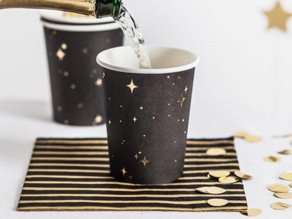 eleganckie papierowe kubeczki do napojów, papierowe kubeczki na imprezę, czarno złote papierowe kubeczki na imprezę