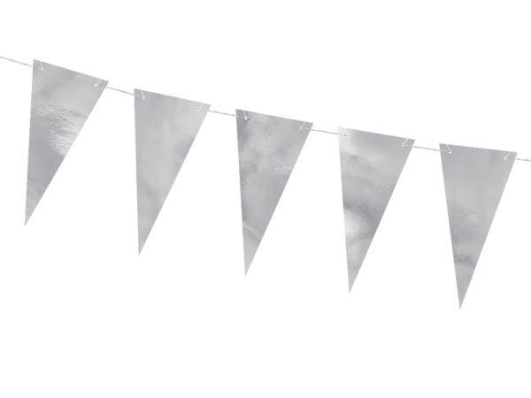girlanda flagietki srebrna,dekoracje srebrne na impreze, girlanda urodzinowa, dekoracje urodzinowe, dekoracje candy bar,