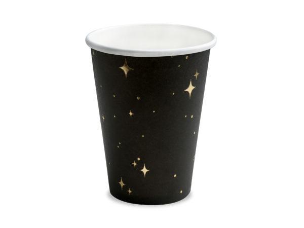 papierowe kubeczki na imprezę, czarno złote papierowe kubeczki na imprezę, eleganckie papierowe kubeczki do napojów