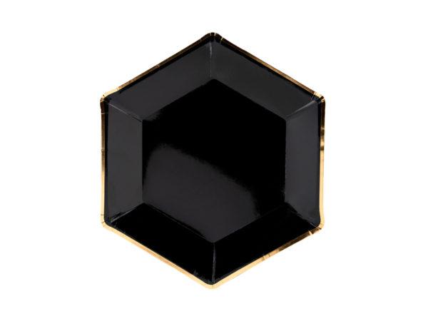 talerzyki papierowe na impreze czarne złote, czarne talerzyki ze złotym brzegiem na imprezę, dekoracje na 18stkę, dekoracje na sylwestra