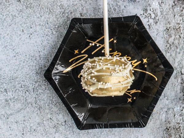 talerzyki sylwestrowe złoto i czerń, , dekoracje na nowy rok, papierowe talerzyki happy new year czarne