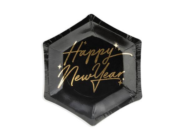 talerzyki sylwestrowe złoto i czerń, papierowe talerzyki happy new year czarne, dekoracje na nowy rok