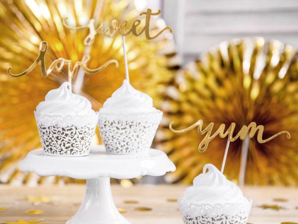 ślubne dekoracje na tort, dekoracje candy bar złote, złote dekoracje na tort, toppery na tort złote, złote toppery na muffinki i ciasta,