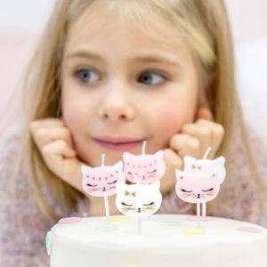 świeczki na tort, świeczki na tort urodzinowy kotek, świeczki urodzinowe kotek,