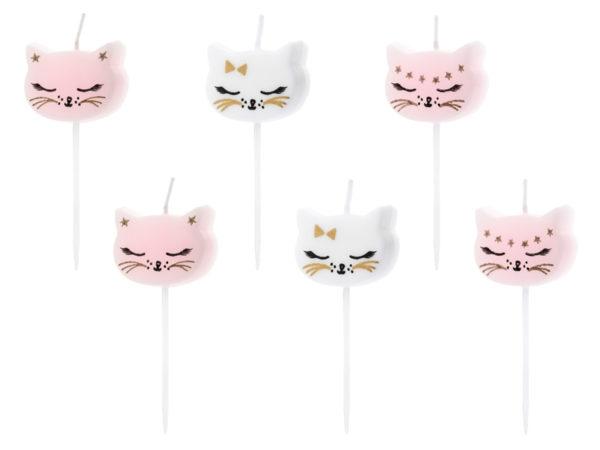 świeczki na tort urodzinowy kotek, świeczki urodzinowe kotek, świeczki na tort