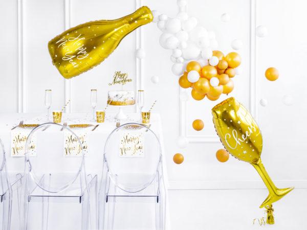 balon foliowy kieliszek, balon foliowy butelka szampana, balony na sylwestra, balony na nowy rok, balony złote na impreze