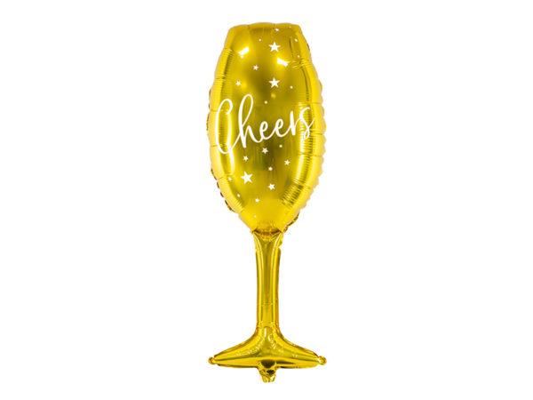 balon foliowy kieliszek, balon foliowy szampanówka, złoty balon na sylwestra, balony na nowy rok, balon złoty kieliszek do szampana