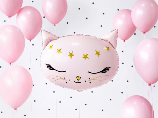 balon foliowy różowy kotek, balon na urodziny dla dziewczynki, balon na przyjęcie urodzinowe, balon helowy kotek