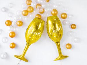 balon foliowy szampanówka, złoty balon na sylwestra, balony na nowy rok, balon złoty kieliszek do szampana,balon foliowy kieliszek