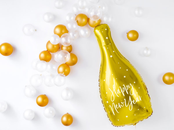 balon złota butelka szampana, balon foliowy szampan, balon foliowy butelka szapmana, złoty balon na sylwestra, balony na nowy rok,