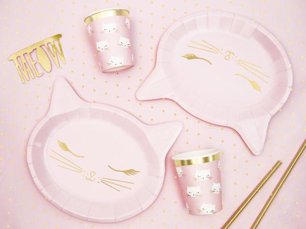 dekoracje urodzinowe dla dziewczynki, różowe dekoracje urodzinowe, talerzyki urodzinowe różowy kotek, talerzyki na urodziny dziewczynki, baby girl, urodziny dla dziewczynki,