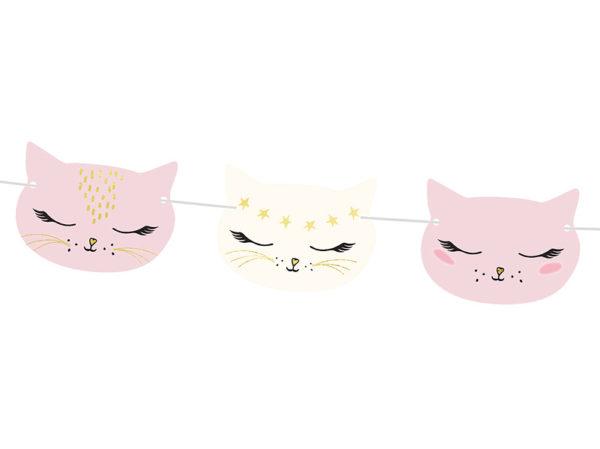 dekoracje urodzinowe kotki, girlanda urodzinowa różowe kotki, girlanda na urodziny kotek, girlanda kotek,