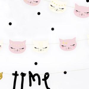 girlanda kotek, dekoracje urodzinowe kotki, girlanda urodzinowa różowe kotki, girlanda na urodziny kotek,
