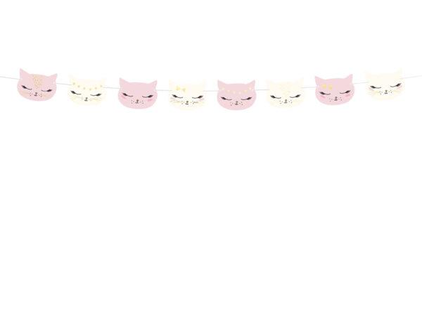 girlanda urodzinowa różowe kotki, girlanda na urodziny kotek, girlanda kotek, dekoracje urodzinowe kotki