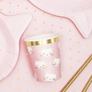 kubeczki do napojów urodzinowe różowy kotek, kubeczki na urodziny dziewczynki, baby girl, urodziny dla dziewczynki, dekoracje urodzinowe dla dziewczynki, różowe dekoracje urodzinowe,