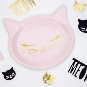 różowe dekoracje urodzinowe, talerzyki urodzinowe różowy kotek, talerzyki na urodziny dziewczynki, baby girl, urodziny dla dziewczynki, dekoracje urodzinowe dla dziewczynki,