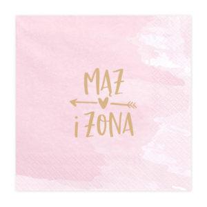 różowe serwetki ze złotym napisem mąż żona, weselne serwetki papierowe, serwetki papierowe mąż żona do candy bar