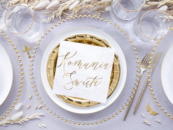 serwetki I Komunia Św., dekoracje komunijne, serwetki komunijne, biało złote dekoracje