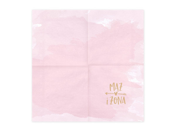 serwetki papierowe mąż żona do candy bar, różowe serwetki ze złotym napisem mąż żona, weselne serwetki papierowe,