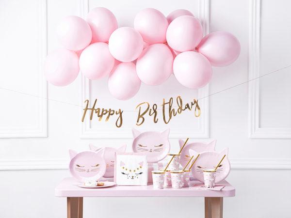 talerzyki na urodziny dziewczynki, dekoracje urodzinowe dla dziewczynki, różowe dekoracje urodzinowe, talerzyki urodzinowe różowy kotek, baby girl, urodziny dla dziewczynki,
