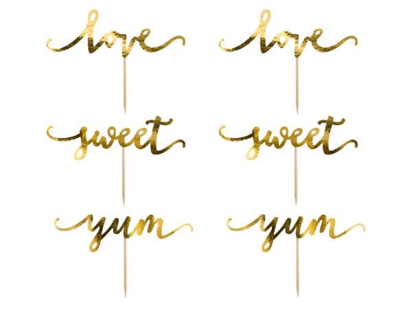 toppery na tort złote, złote toppery na muffinki i ciasta, ślubne dekoracje na tort, dekoracje candy bar złote, złote dekoracje na tort