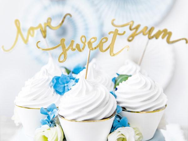 złote toppery na muffinki i ciasta, ślubne dekoracje na tort, dekoracje candy bar złote, złote dekoracje na tort, toppery na tort złote,