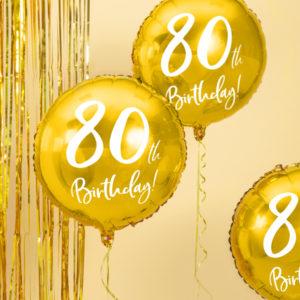 złoty balon cyfra 80, złoty balon na 80 urodziny, balony na 80tke