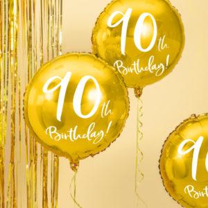złoty balon cyfra 90, złoty balon na 90 urodziny, balony na 90tke