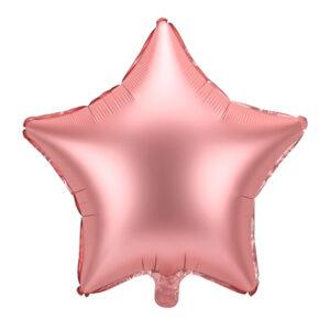 balon foliowy gwiazdka, różowe zloto, satyna, balon foliowy gwiazdka golden rose satyna