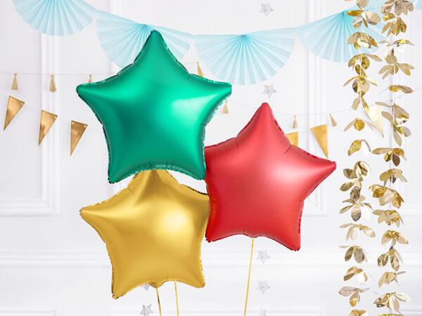balon foliowy gwiazdka, satynowa zieleń, balon gwiazdka złota satyna, balon foliowy gwiazdka czerwień satyna