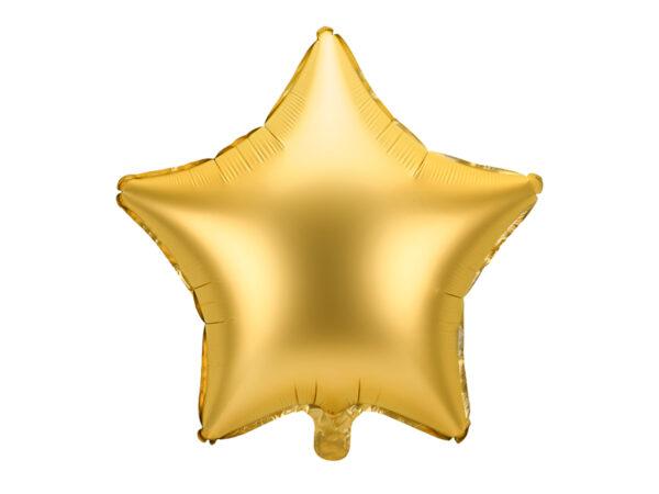 balon foliowy gwiazdka, złota satyna, zlote dekoracje