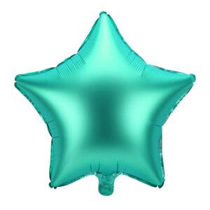 balon foliowy satynowy zielony, gwiazdka