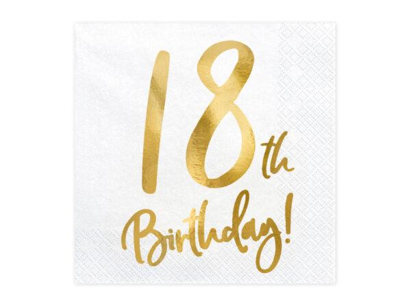 białe serwetki ze złotą cyfrą 18, serwetki na 18stkę, dekoracje na 18stkę, dekoracje na 18 urodziny, serwetki na 18 urodziny, serwetki urodzinowe