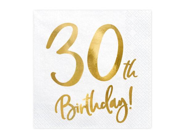 białe serwetki ze złotym napisem 30th birthday, serwetki na 30stkę, dekoracje na 30stkę, dekoracje na 30 urodziny, serwetki na 30 urodziny, serwetki urodzinowe