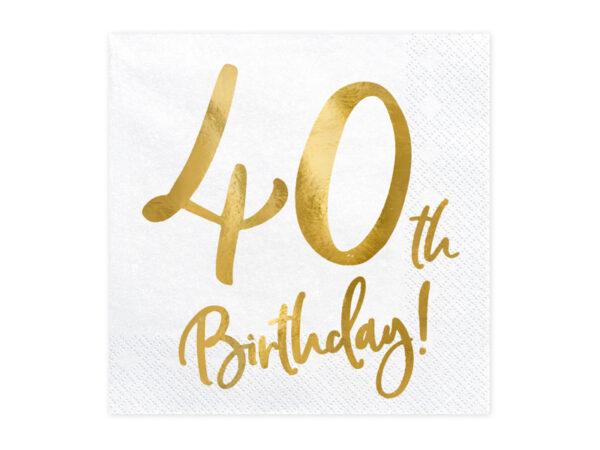 białe serwetki ze złotym napisem 40th birthday, serwetki na 40stkę, dekoracje na 40stkę, dekoracje na 40 urodziny, serwetki na 40 urodziny, serwetki urodzinowe