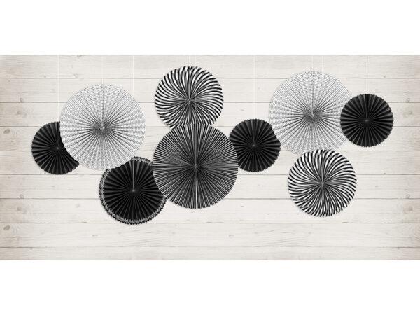 dekoracje na impreze czerń i biel, rozety papierowe biało-czarne, dekoracyjne rozety papierowe,