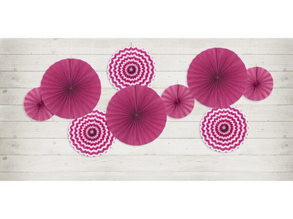 rozety papierowe fuksja, dekoracyjne rozety papierowe, dekoracje na impreze, dekoracje na przyjęcie kolor fuksja