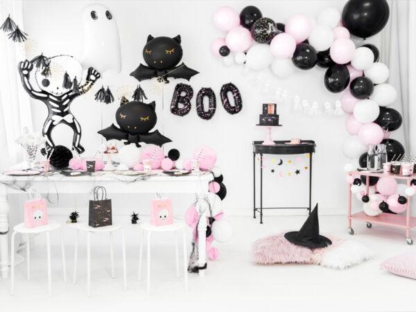 słomki na halloween, biało czarne słomki do napojów, słomki do napojów w biało-czarne paski, biało czarne dekoracje na imprezę, dekoracje na halloween