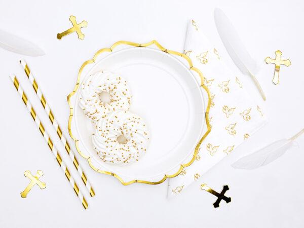 serwetki na chrzest św., serwetki w złote gołąbki, serwetki komunijne,